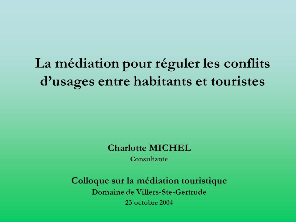 La médiation pour réguler les conflits dusages entre habitants et touristes Charlotte MICHEL Consultante Colloque sur la médiation touristique Domaine