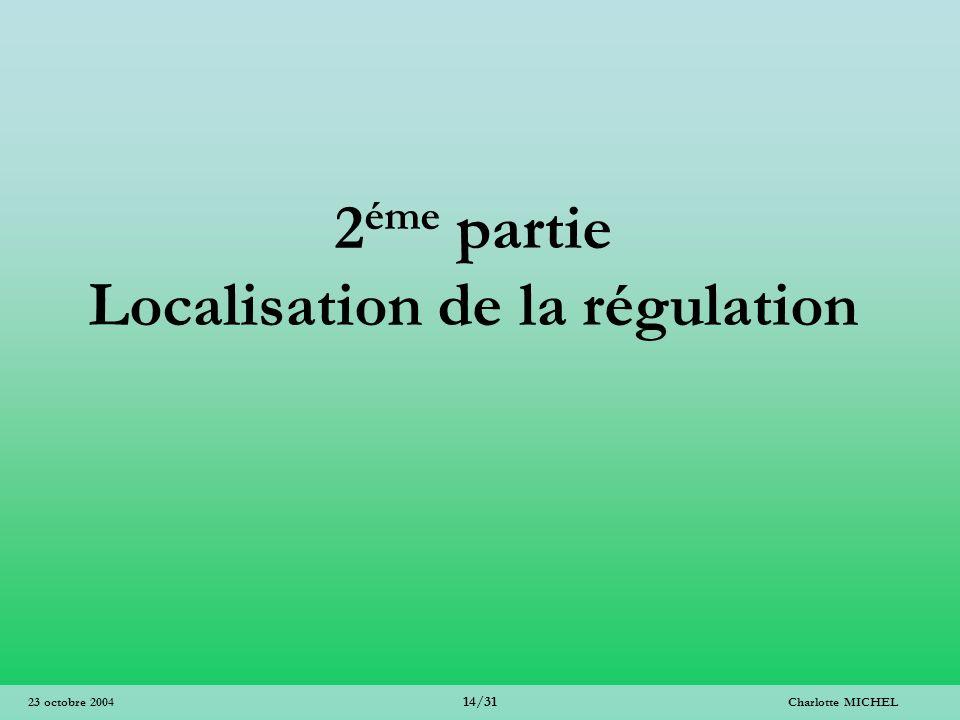 Charlotte MICHEL 14/31 23 octobre 2004 2 éme partie Localisation de la régulation