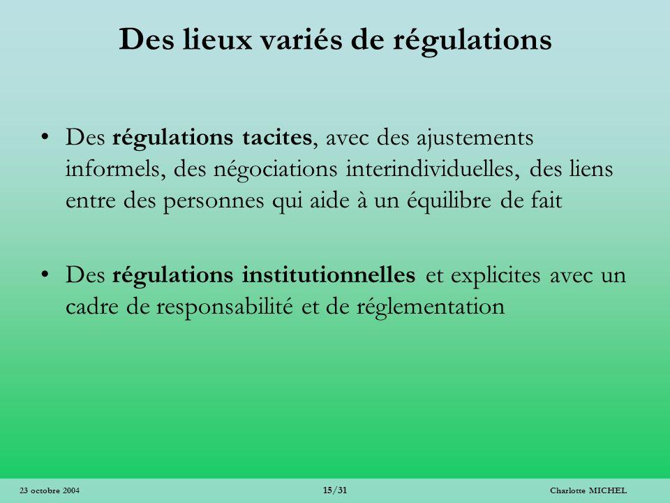 Charlotte MICHEL 15/31 23 octobre 2004 Des lieux variés de régulations Des régulations tacites, avec des ajustements informels, des négociations inter