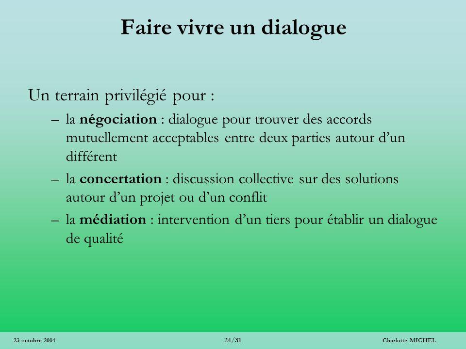 Charlotte MICHEL 24/31 23 octobre 2004 Faire vivre un dialogue Un terrain privilégié pour : –la négociation : dialogue pour trouver des accords mutuel
