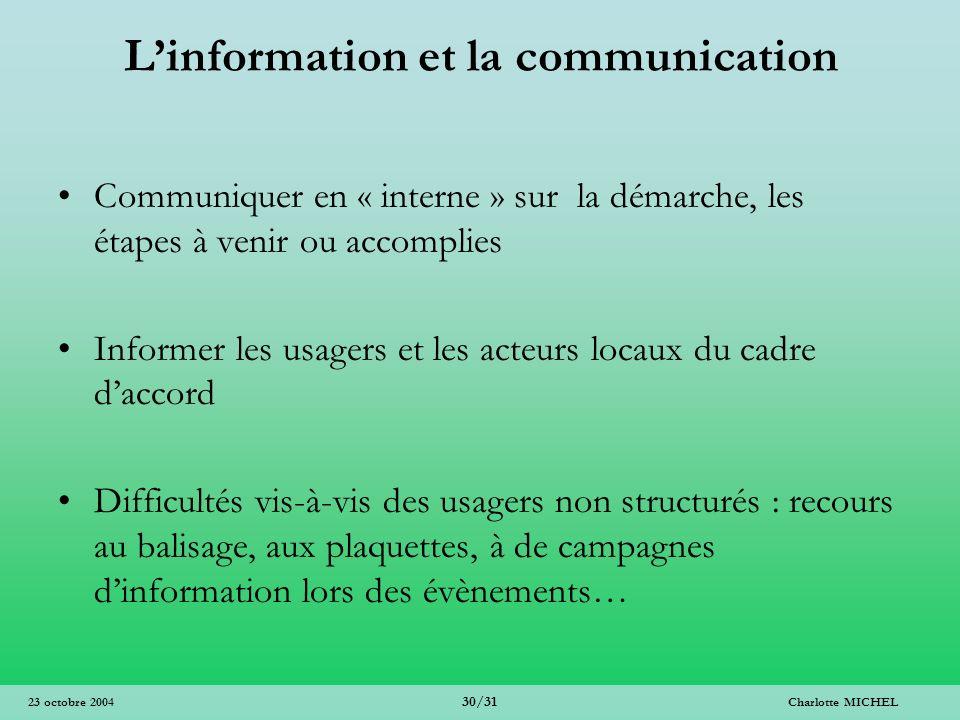 Charlotte MICHEL 30/31 23 octobre 2004 Linformation et la communication Communiquer en « interne » sur la démarche, les étapes à venir ou accomplies I