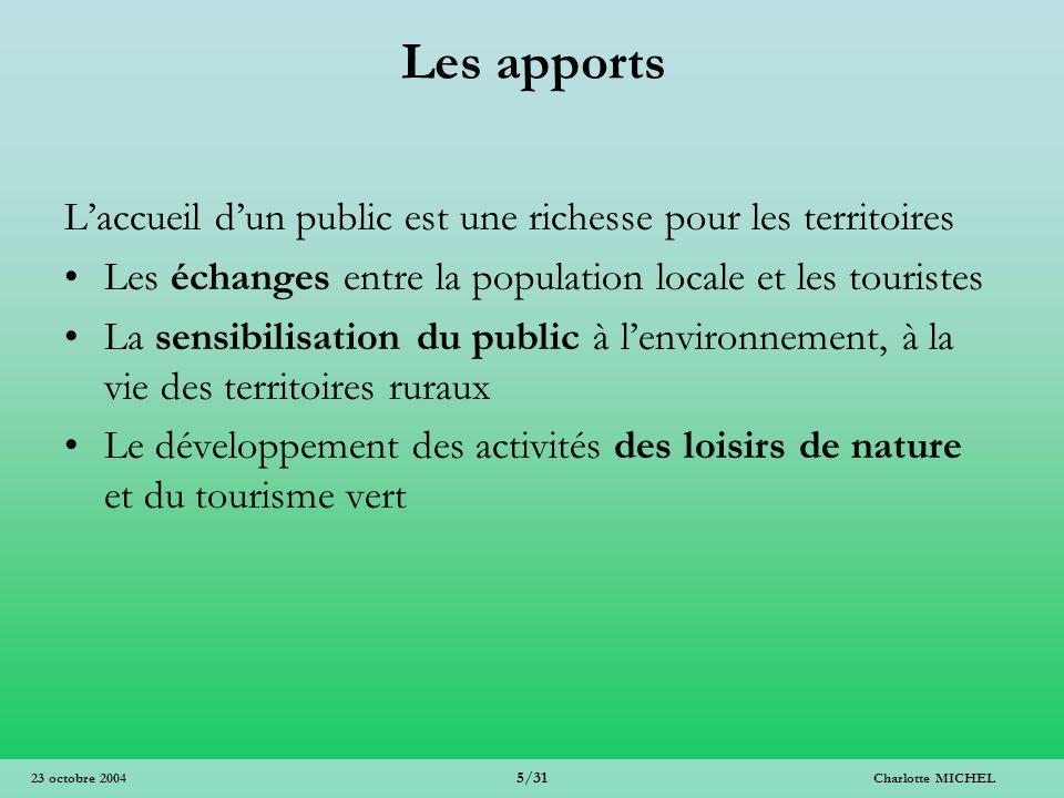 Charlotte MICHEL 5/31 23 octobre 2004 Les apports Laccueil dun public est une richesse pour les territoires Les échanges entre la population locale et