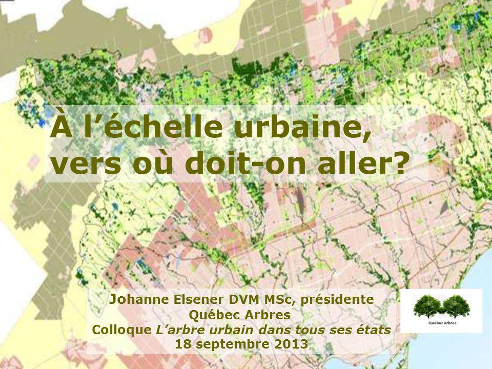 Jo hanne Elsener DVM MSc, présidente Québec Arbres Colloque Larbre urbain dans tous ses états 18 septembre 2013 À léchelle urbaine, vers où doit-on aller?