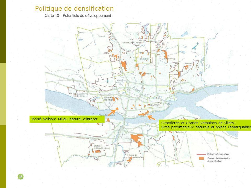 Boisé Neilson: Milieu naturel dintérêt Cimetières et Grands Domaines de Sillery: Sites patrimoniaux naturels et boisés remarquables Politique de densification