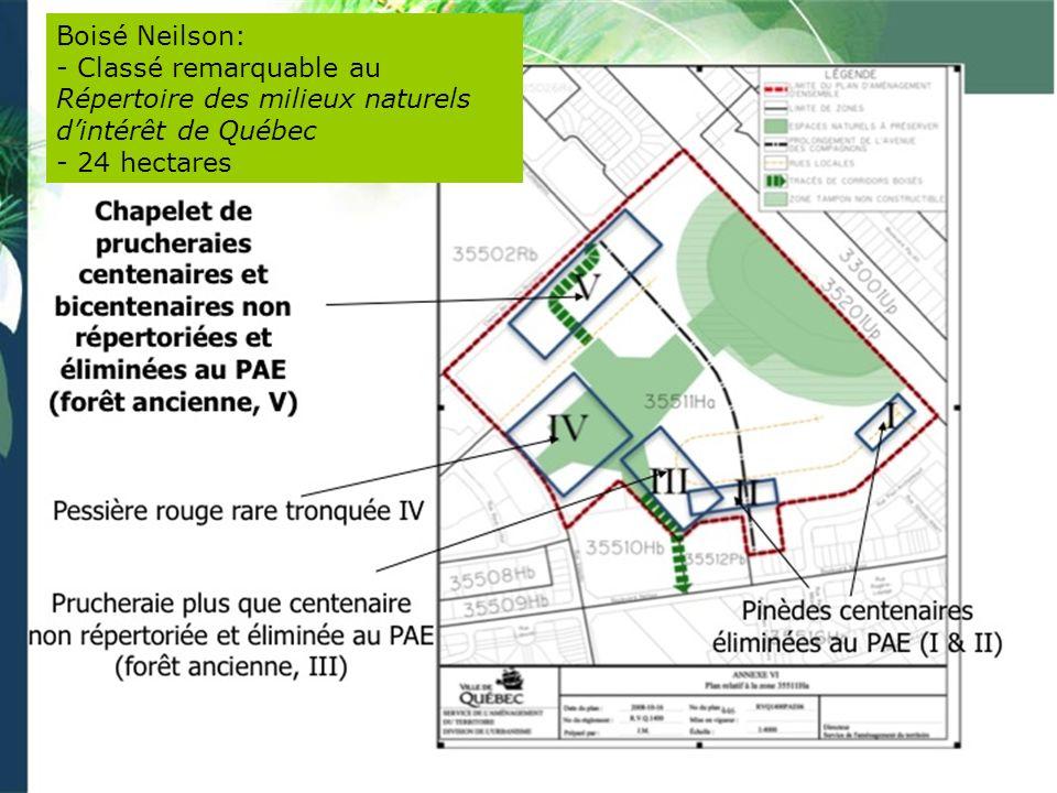 Boisé Neilson: - Classé remarquable au Répertoire des milieux naturels dintérêt de Québec - 24 hectares