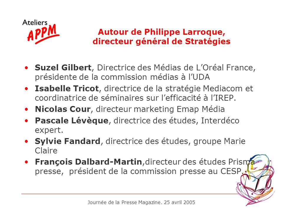 Journée de la Presse Magazine. 25 avril 2005 Autour de Philippe Larroque, directeur général de Stratégies Suzel Gilbert, Directrice des Médias de LOré