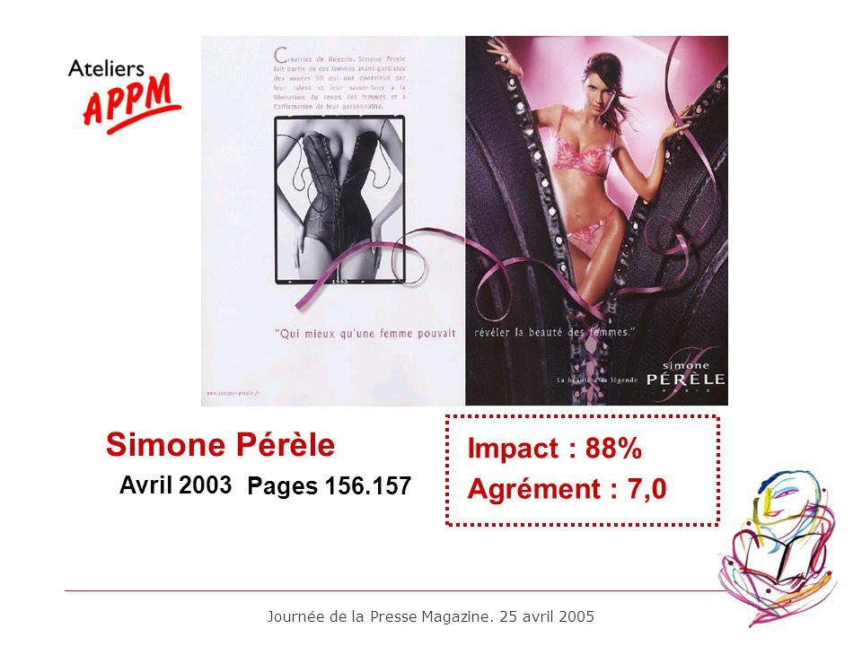 Journée de la Presse Magazine. 25 avril 2005 Avril 2003 Impact : 88% Agrément : 7,0 Pages 156.157 Simone Pérèle