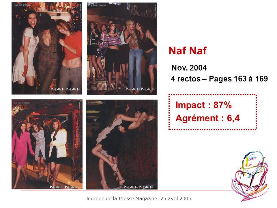 Journée de la Presse Magazine. 25 avril 2005 Nov. 2004 Impact : 87% Agrément : 6,4 4 rectos – Pages 163 à 169 Naf