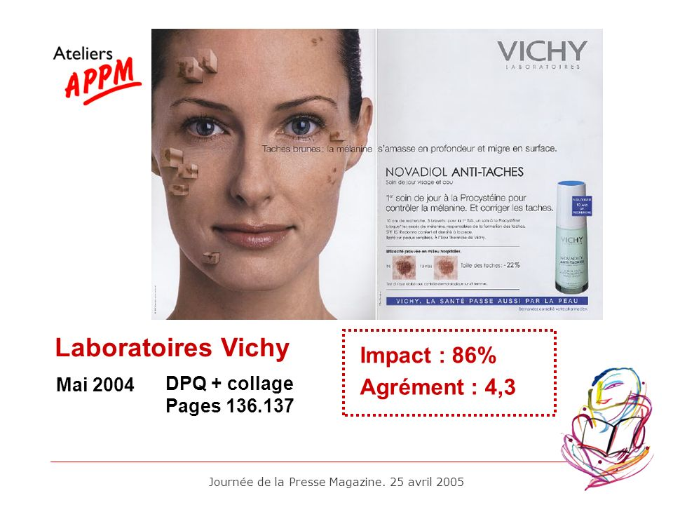 Journée de la Presse Magazine. 25 avril 2005 Mai 2004 Impact : 86% Agrément : 4,3 DPQ + collage Pages 136.137 Laboratoires Vichy