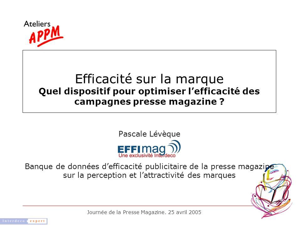 Journée de la Presse Magazine. 25 avril 2005 Pascale Lévèque Banque de données defficacité publicitaire de la presse magazine sur la perception et lat