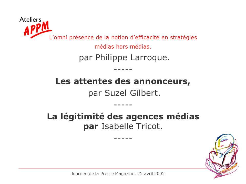 Journée de la Presse Magazine. 25 avril 2005 Lomni présence de la notion defficacité en stratégies médias hors médias. par Philippe Larroque. ----- Le