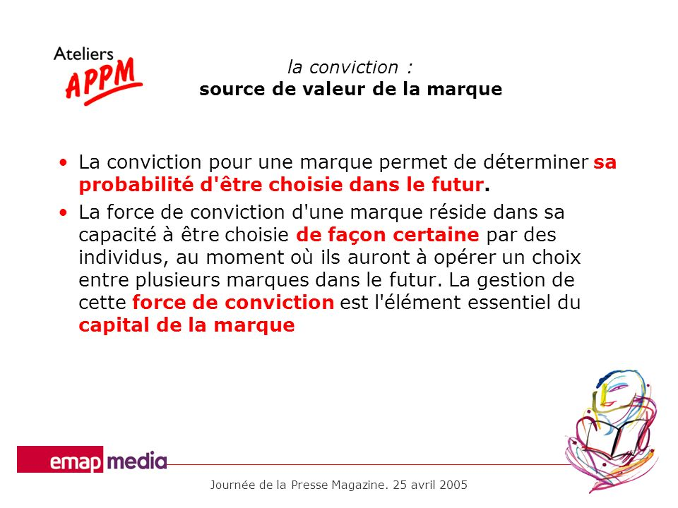 Journée de la Presse Magazine. 25 avril 2005 la conviction : source de valeur de la marque La conviction pour une marque permet de déterminer sa proba