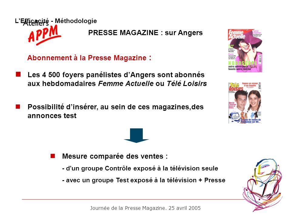 Journée de la Presse Magazine. 25 avril 2005 PRESSE MAGAZINE : sur Angers Abonnement à la Presse Magazine : Les 4 500 foyers panélistes dAngers sont a