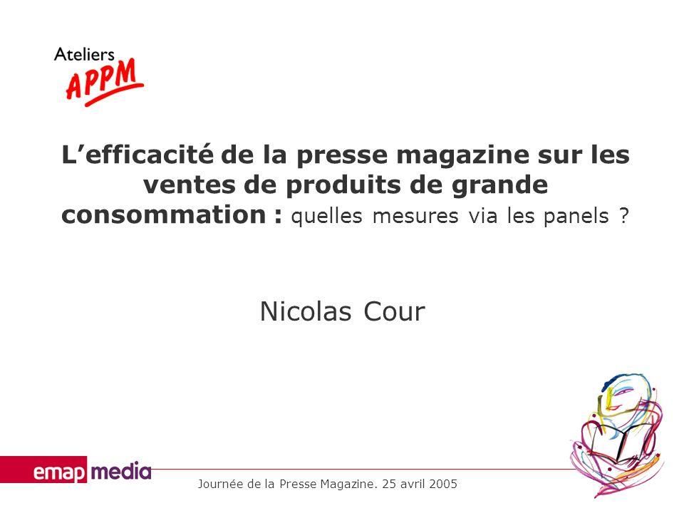 Journée de la Presse Magazine. 25 avril 2005 Lefficacité de la presse magazine sur les ventes de produits de grande consommation : quelles mesures via