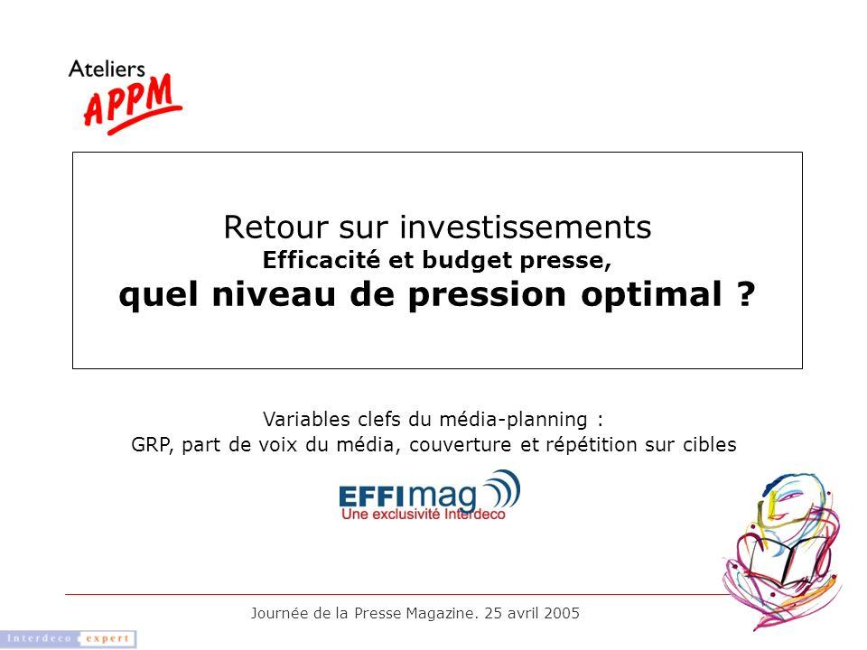 Journée de la Presse Magazine. 25 avril 2005 Retour sur investissements Efficacité et budget presse, quel niveau de pression optimal ? Variables clefs