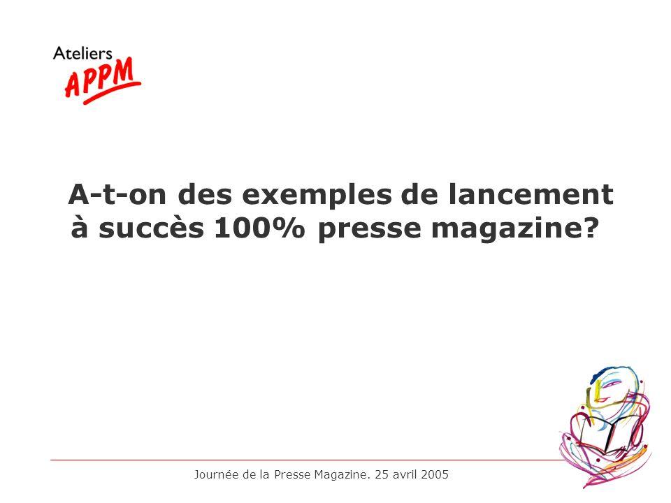 Journée de la Presse Magazine. 25 avril 2005 A-t-on des exemples de lancement à succès 100% presse magazine?
