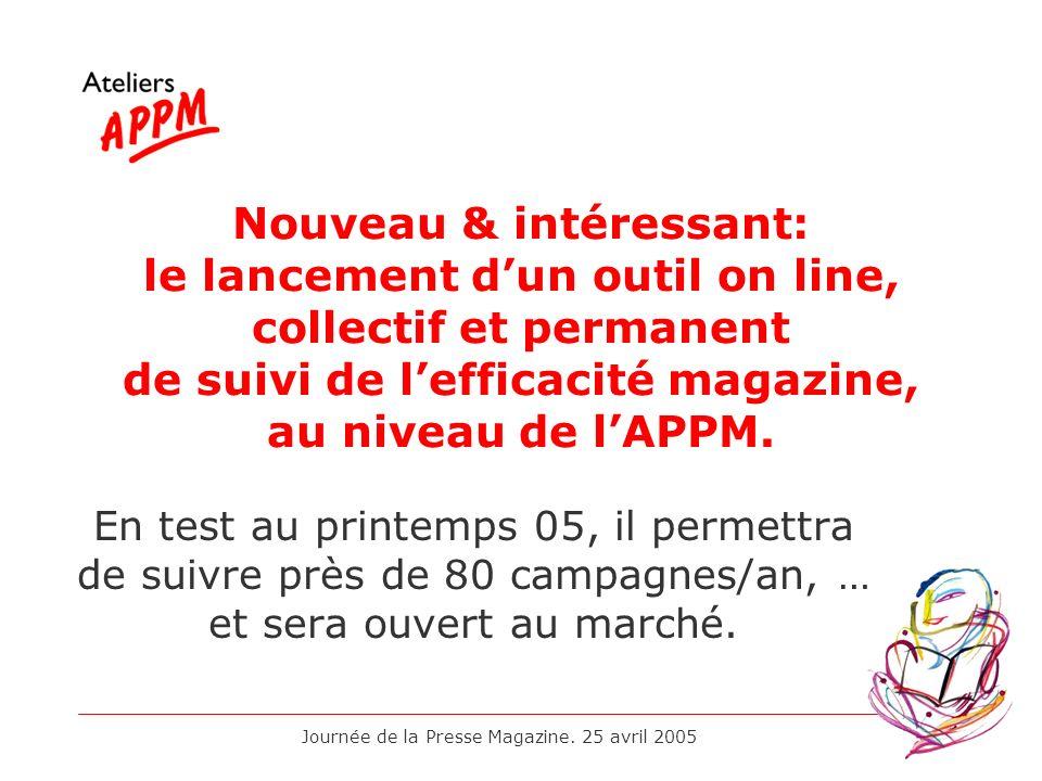 Journée de la Presse Magazine. 25 avril 2005 Nouveau & intéressant: le lancement dun outil on line, collectif et permanent de suivi de lefficacité mag