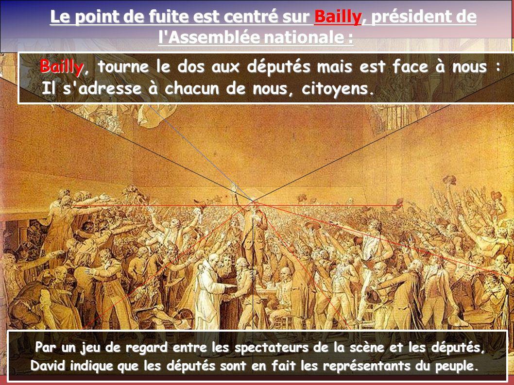 Le point de fuite est centré sur Bailly, président de Le point de fuite est centré sur Bailly, président de l'Assemblée nationale : Bailly, tourne le