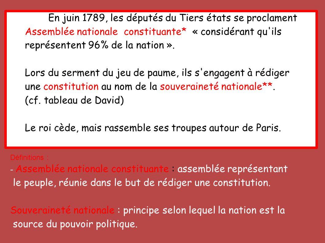 En juin 1789, les députés du Tiers états se proclament Assemblée nationale constituante* « considérant qu'ils représentent 96% de la nation ». Lors du
