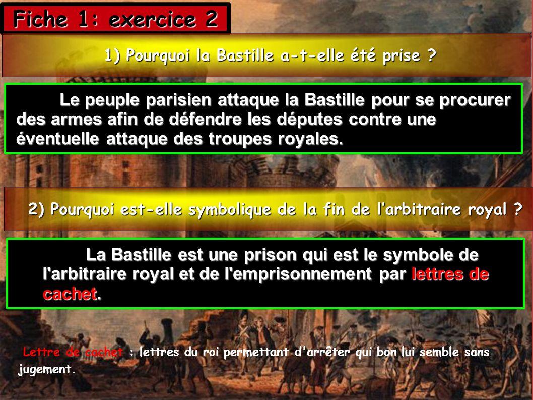 Fiche 1: exercice 2 1) Pourquoi la Bastille a-t-elle été prise ? 1) Pourquoi la Bastille a-t-elle été prise ? 2) Pourquoi est-elle symbolique de la fi
