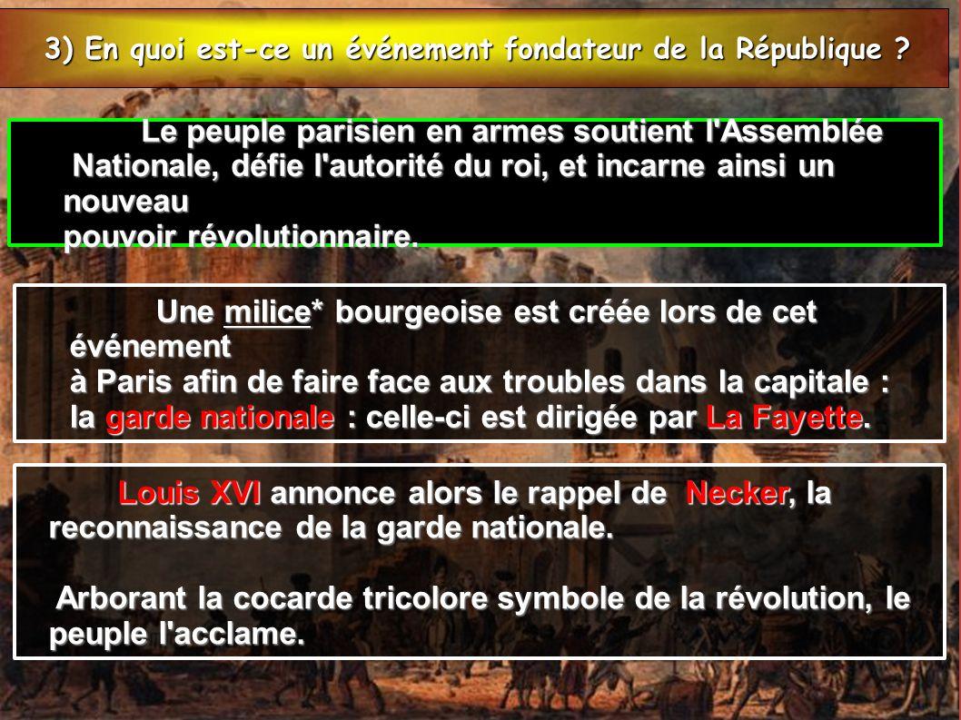 3) En quoi est-ce un événement fondateur de la République ? 3) En quoi est-ce un événement fondateur de la République ? Le peuple parisien en armes so