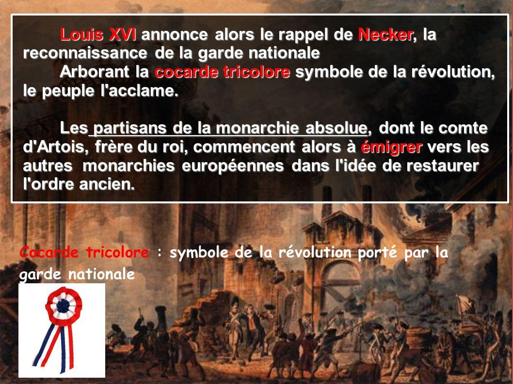 Louis XVI annonce alors le rappel de Necker, la Louis XVI annonce alors le rappel de Necker, la reconnaissance de la garde nationale Arborant la cocar