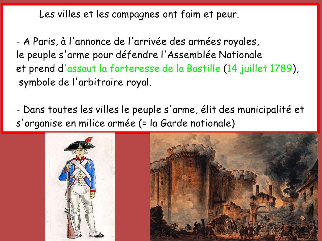 Les villes et les campagnes ont faim et peur. - A Paris, à l'annonce de l'arrivée des armées royales, le peuple s'arme pour défendre l'Assemblée Natio