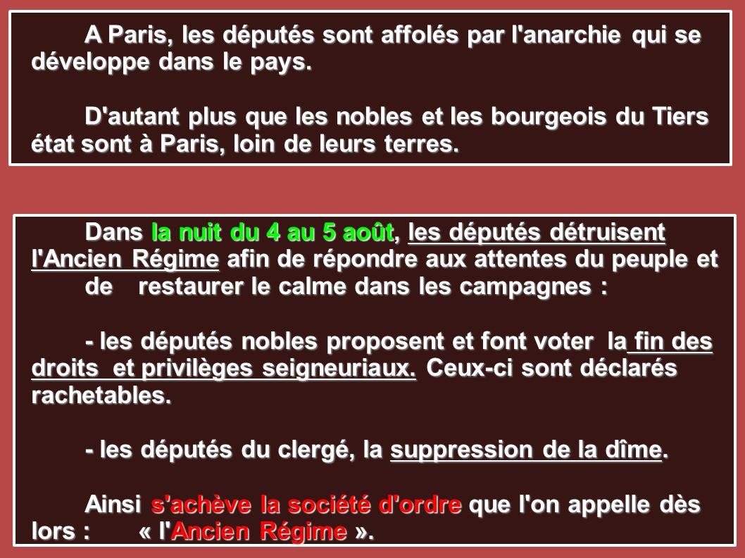 A Paris, les députés sont affolés par l'anarchie qui se développe dans le pays. D'autant plus que les nobles et les bourgeois du Tiers état sont à Par