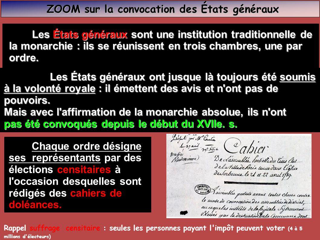 Louis XVI convoque les Louis XVI convoque les États généraux dans le but de faire une réforme de la fiscalité du royaume qui est en pleine crise financière et sociale du fait de la cherté du pain.