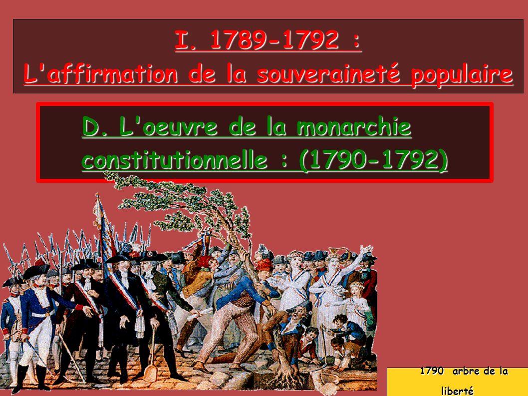 I. 1789-1792 : L'affirmation de la souveraineté populaire D. L'oeuvre de la monarchie constitutionnelle : (1790-1792) 1790 arbre de la liberté 1790 ar