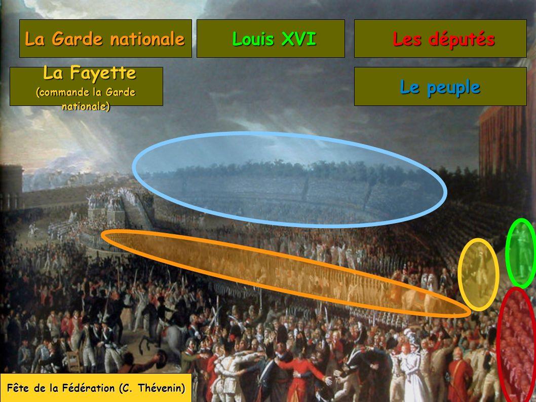 Fête de la Fédération (C. Thévenin) La Garde nationale La Fayette La Fayette (commande la Garde nationale) Louis XVI Louis XVI Les députés Les députés