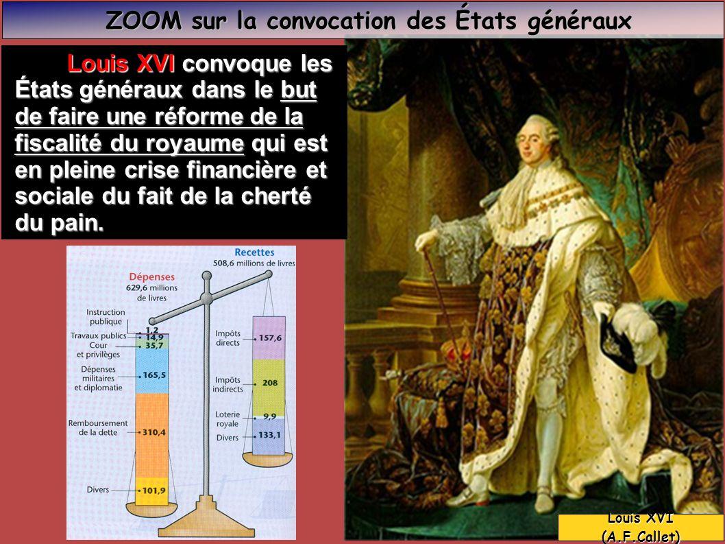 Louis XVI convoque les Louis XVI convoque les États généraux dans le but de faire une réforme de la fiscalité du royaume qui est en pleine crise finan