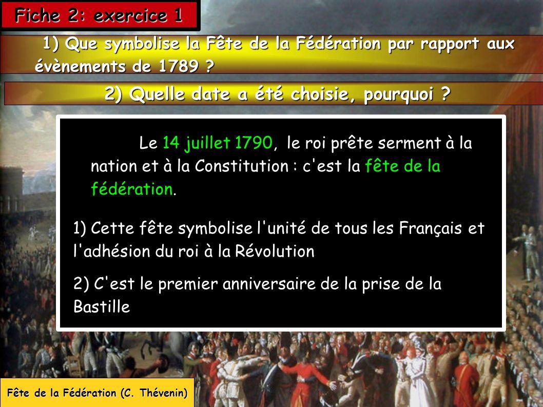 Le 14 juillet 1790, le roi prête serment à la nation et à la Constitution : c'est la fête de la fédération. Fête de la Fédération (C. Thévenin) 1) Que
