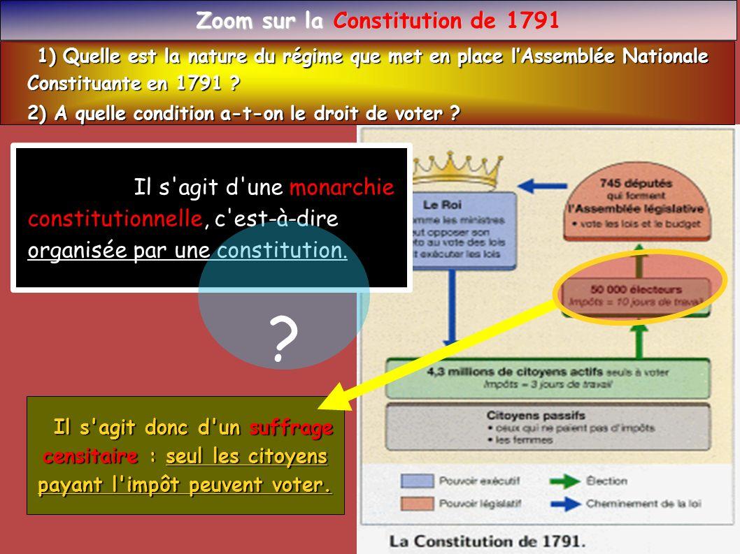 Zoom sur la Constitution de 1791 Zoom sur la Constitution de 1791 1) Quelle est la nature du régime que met en place lAssemblée Nationale 1) Quelle es