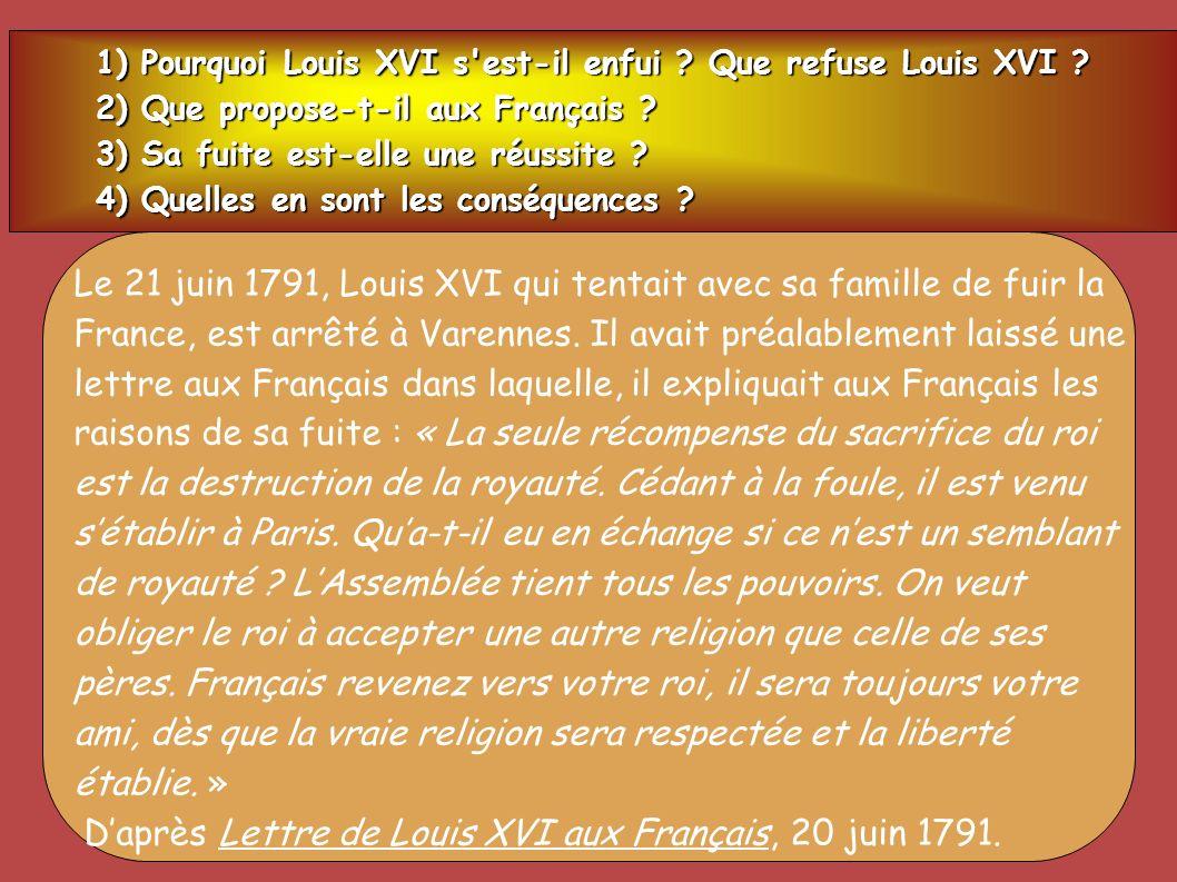 Le 21 juin 1791, Louis XVI qui tentait avec sa famille de fuir la France, est arrêté à Varennes. Il avait préalablement laissé une lettre aux Français