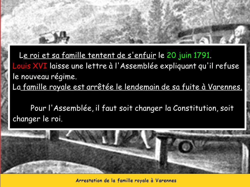 Le roi et sa famille tentent de s'enfuir le 20 juin 1791. Louis XVI laisse une lettre à l'Assemblée expliquant qu'il refuse le nouveau régime. La fami