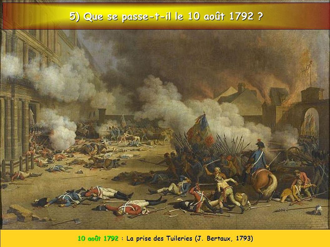 10 août 1792 : La prise des Tuileries (J. Bertaux, 1793) 5) Que se passe-t-il le 10 août 1792 ?