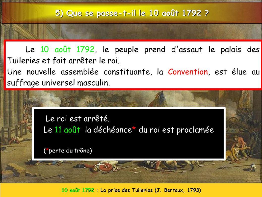 10 août 1792 : La prise des Tuileries (J. Bertaux, 1793) Le 10 août 1792, le peuple prend d'assaut le palais des Tuileries et fait arrêter le roi. Une