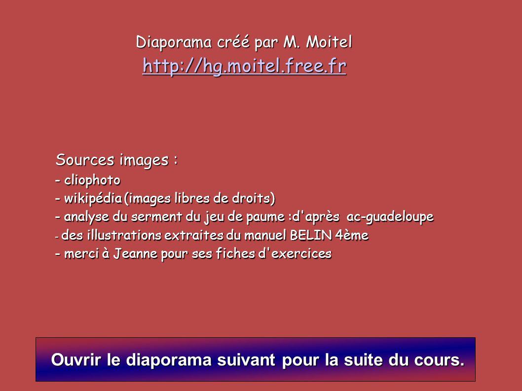 Diaporama créé par M. Moitel http://hg.moitel.free.fr Sources images : - cliophoto - wikipédia (images libres de droits) - analyse du serment du jeu d