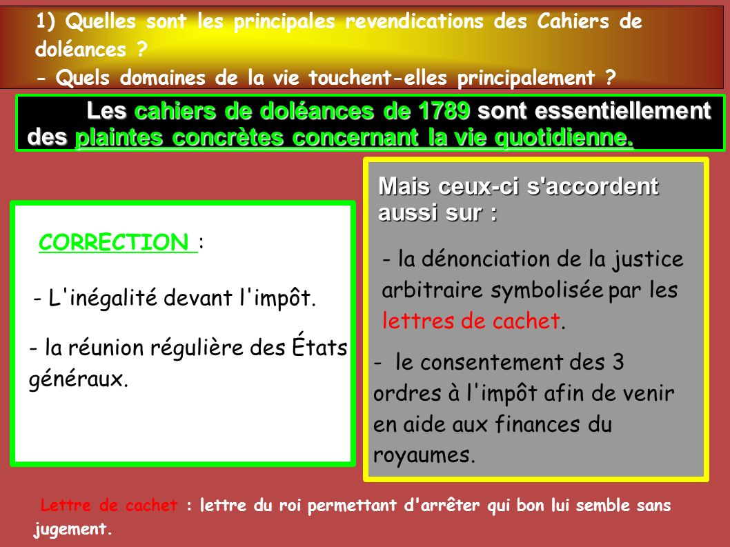 Les cahiers de doléances de 1789 sont essentiellement Les cahiers de doléances de 1789 sont essentiellement des plaintes concrètes concernant la vie q