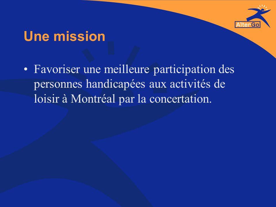 Une mission Favoriser une meilleure participation des personnes handicapées aux activités de loisir à Montréal par la concertation.