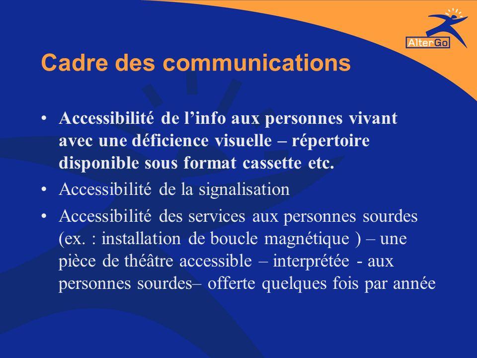Cadre des communications Accessibilité de linfo aux personnes vivant avec une déficience visuelle – répertoire disponible sous format cassette etc. Ac