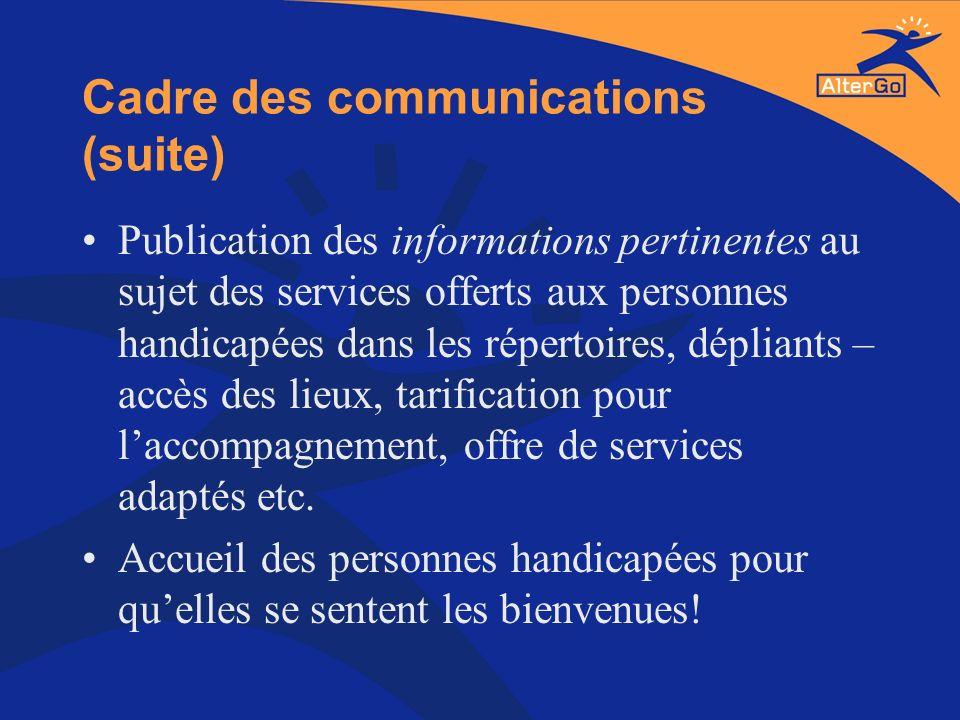 Cadre des communications (suite) Publication des informations pertinentes au sujet des services offerts aux personnes handicapées dans les répertoires