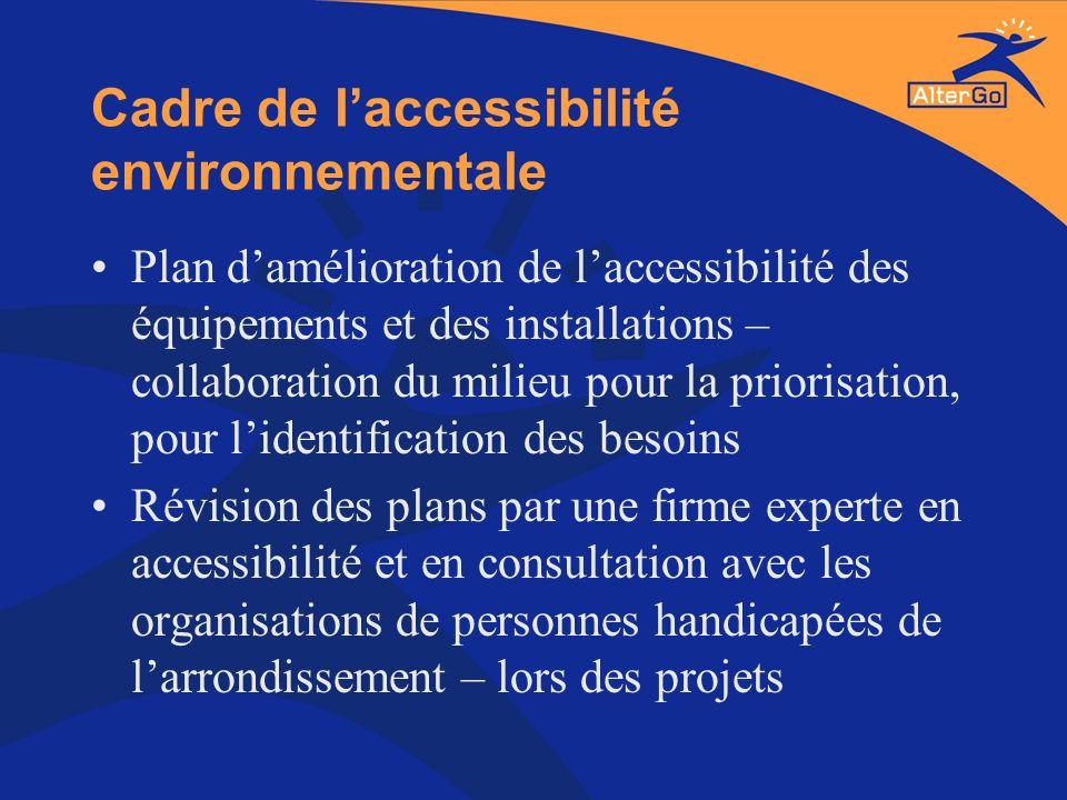 Cadre de laccessibilité environnementale Plan damélioration de laccessibilité des équipements et des installations – collaboration du milieu pour la p