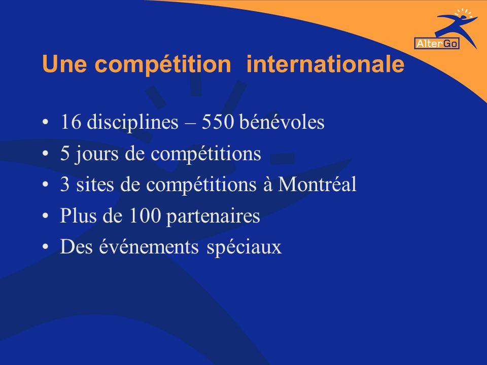 Une compétition internationale 16 disciplines – 550 bénévoles 5 jours de compétitions 3 sites de compétitions à Montréal Plus de 100 partenaires Des é