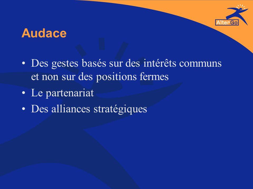 Audace Des gestes basés sur des intérêts communs et non sur des positions fermes Le partenariat Des alliances stratégiques