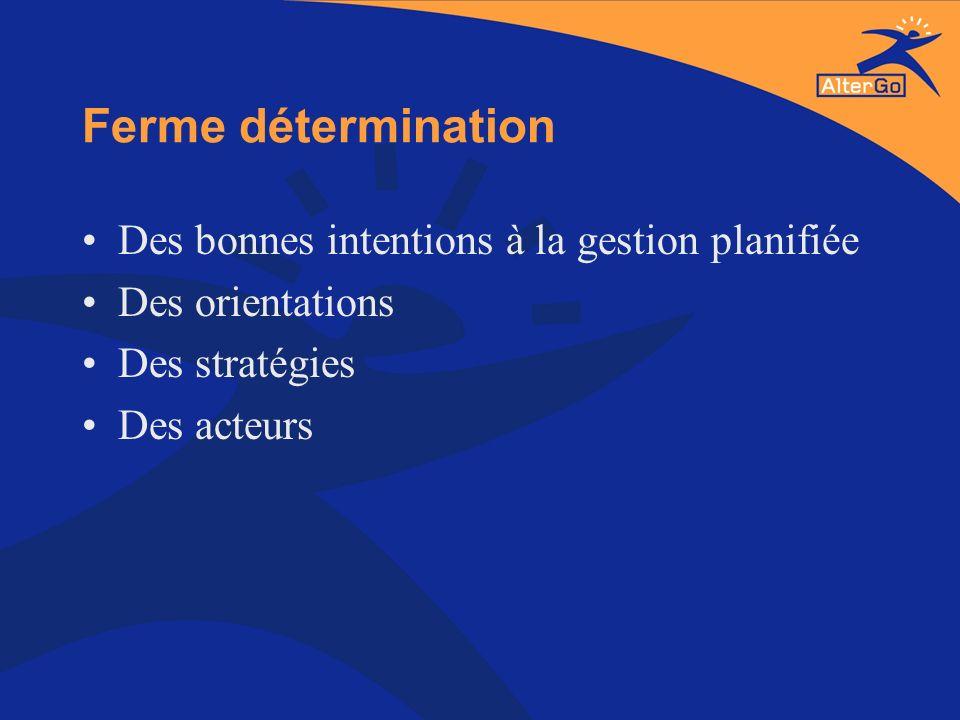 Ferme détermination Des bonnes intentions à la gestion planifiée Des orientations Des stratégies Des acteurs