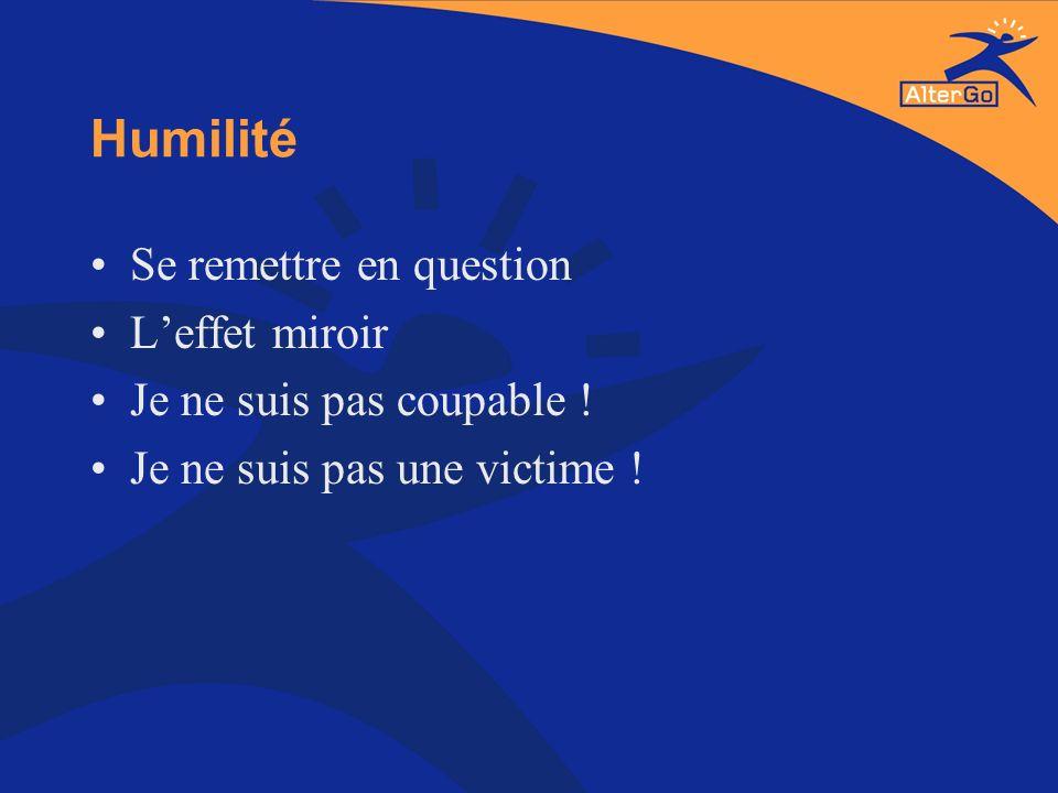 Humilité Se remettre en question Leffet miroir Je ne suis pas coupable ! Je ne suis pas une victime !