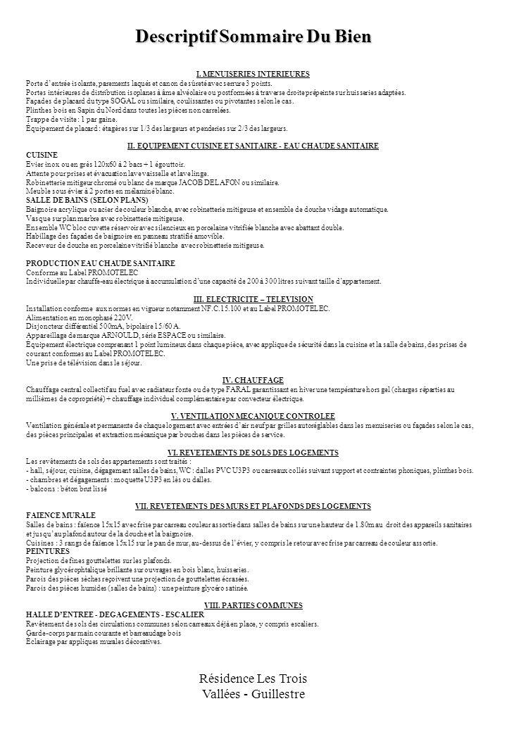 Résidence Les Trois Vallées - Guillestre Descriptif Sommaire Du Bien I. MENUISERIES INTERIEURES Porte dentrée isolante, parements laqués et canon de s