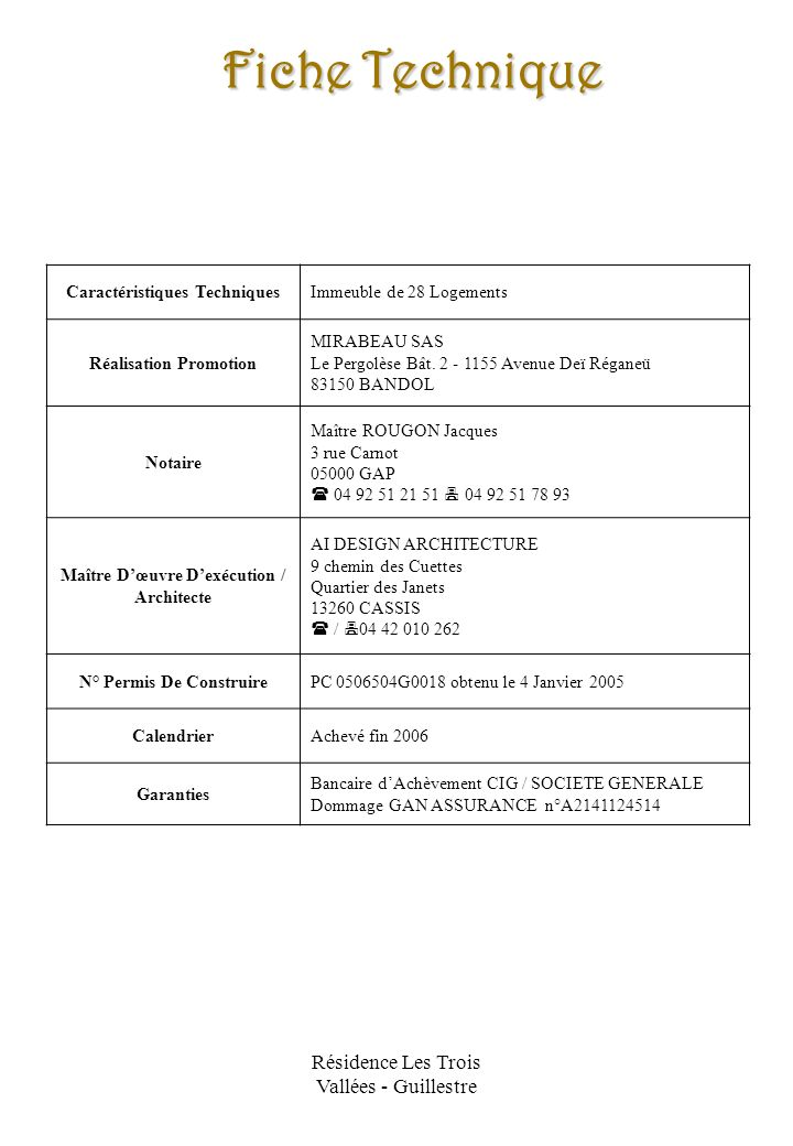 Résidence Les Trois Vallées - Guillestre Fiche Technique Caractéristiques TechniquesImmeuble de 28 Logements Réalisation Promotion MIRABEAU SAS Le Per